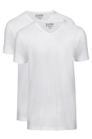 Slater Basic Fit t-shirt wit v-hals 2-pack