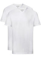 Slater Basic t-shirt wit v-hals two-pack 100% katoen
