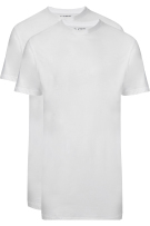 Slater t-shirt Basic extra lang wit two-pack brede ronde hals