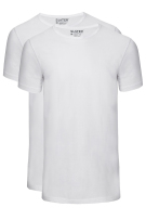 Slater t-shirts 2-pack wit Basic Fit smalle ronde hals