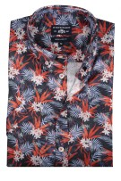 State of Art bloemprint shirt navy rood
