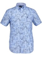 State of Art casual shirt blauw met bladprint kort