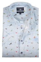 State of Art casual shirt vogelprint lichtblauw