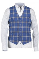State of Art gilet blauw met grove ruit modern fit