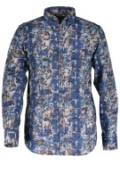State of Art Overhemd Beige Blauw Print Normale fit