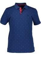 State of Art polo hard blauw stip cerise wit