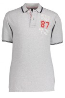 State of Art Polo Shirt Grijs Print Gemêleerd Normale fit