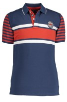 State of Art Polo Shirt Rood Donkerblauw Print Wijde fit