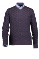 State of Art pullover v-hals navy  ruit