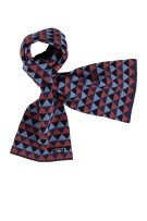State of Art shawl oranje blauw motief wol mix