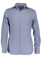 State of Art shirt blauw geruit met stretch
