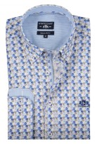 State of Art shirt blauw groen regular fit