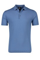 Strellson Polo Shirt Blauw Effen Structuur Normale fit