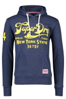 Superdry hooded sweater donkerblauw capuchon