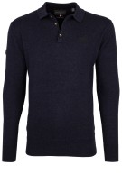 Superdry knitted polo lange mouw navy melange