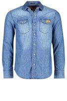 Superdry overhemd blauw denim look