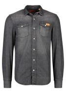 Superdry Overhemd Zwart Effen Slim fit
