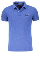 Superdry Polo Shirt Blauw Effen Gemêleerd Slim fit