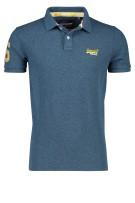 Superdry Polo Shirt Donkerblauw Effen Gemêleerd Slim fit