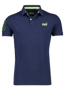 Superdry Polo Shirt Donkerblauw Effen Slim fit