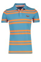 Superdry Polo Shirt Oranje Lichtblauw Gestreept Slim fit