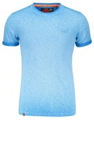 Superdry T-shirt Blauw Effen Gemêleerd Slim fit