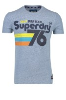 Superdry T-shirt Blauw Print Gemêleerd Slim fit