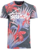 Superdry T-shirt Rood Donkerblauw Print Slim fit
