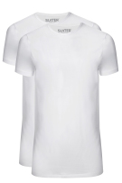 T-shirts extra lang Slater Basic Fit wit 2-pack smalle boord