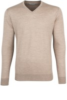Thomas Maine Trui Beige Effen Normale fit
