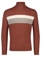 Thomas Maine Trui Rood Bruin Gestreept Print Normale fit