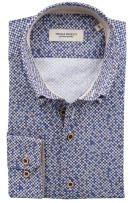 Thomas Regency shirt blauw beige print