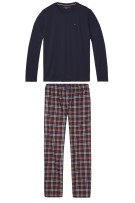 Tommy Hilfiger Pyjama Rood Donkerblauw Geruit Effen Normale fit