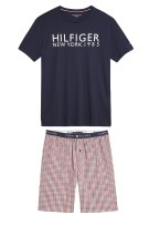 Tommy Hilfiger Shortama Rood Donkerblauw Effen Print Normale fit