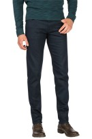 Vanguard 5-Pocket Broek Donkerblauw Effen Slanke fit