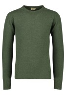 William Lockie lamswol pullover groen ronde hals