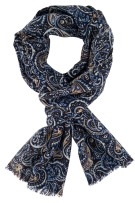 Wolle sjaal Giordano blauw paisley