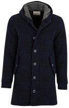 Wool & Co jas navy ruit wol blend halflang
