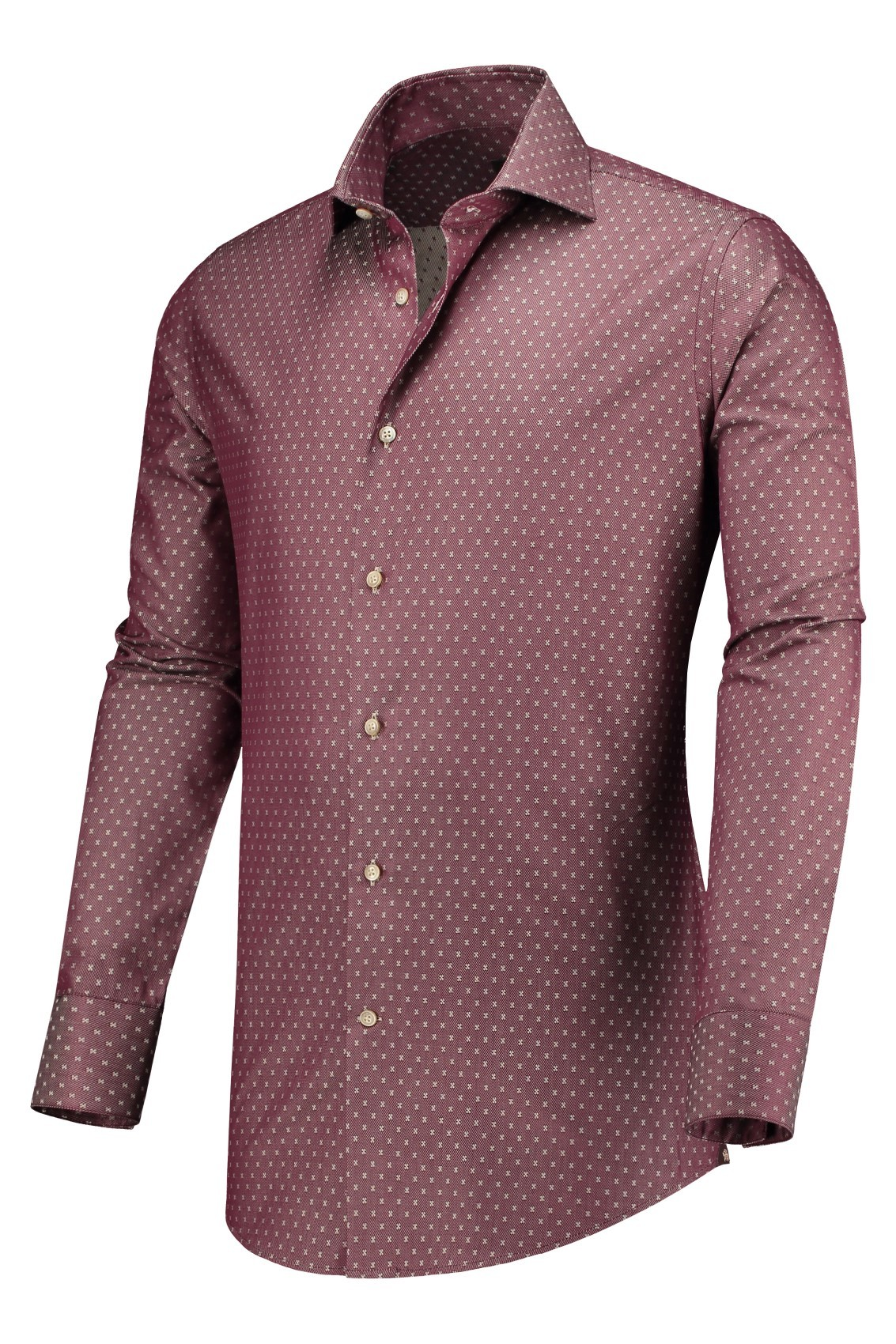Rood Overhemd Slim Fit.Circle Of Gentlemen Overhemd Rood Bordeaux Print Slim Fit