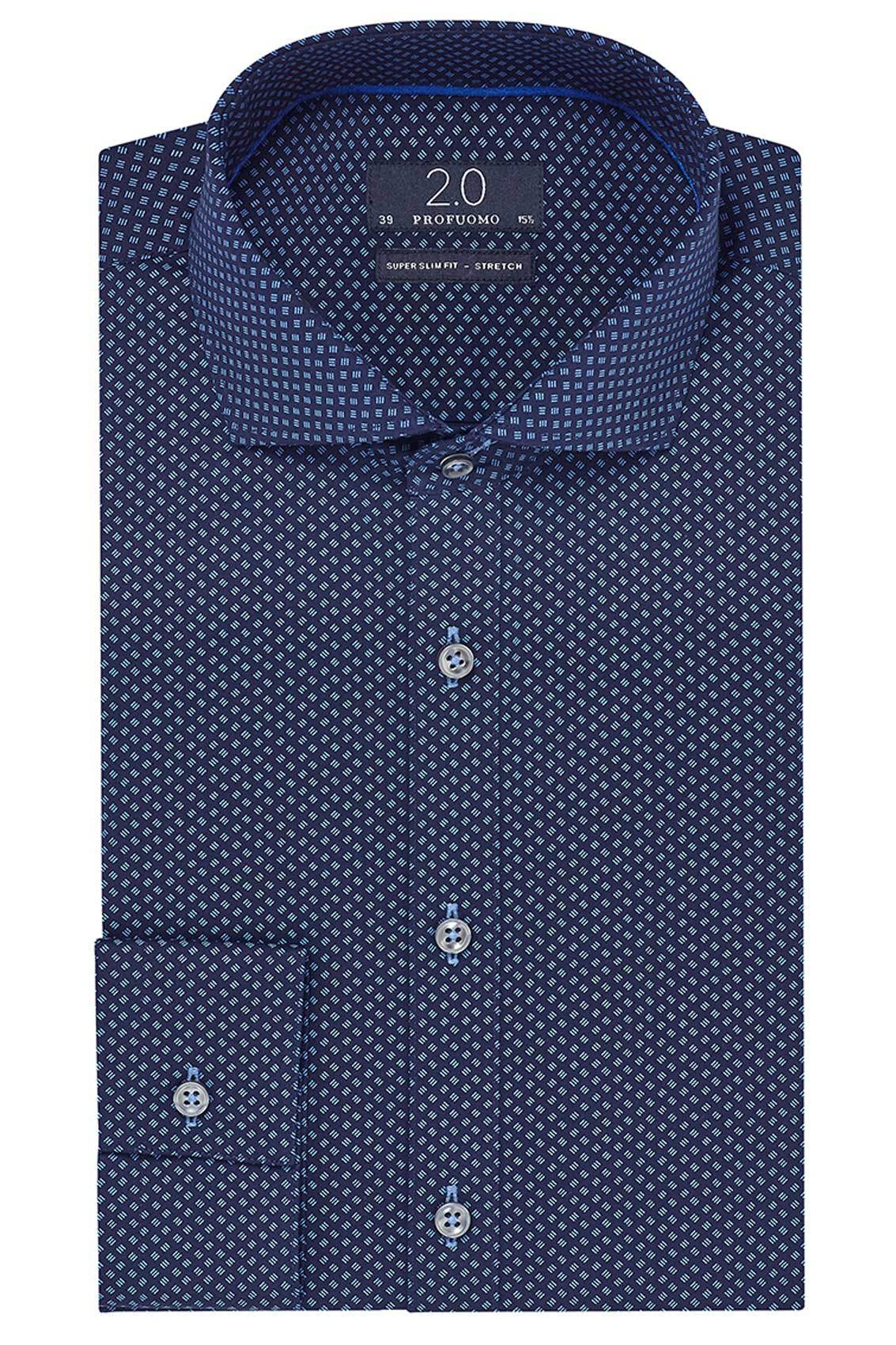 Profuomo 2.0 shirt navy print super slim fit stretch