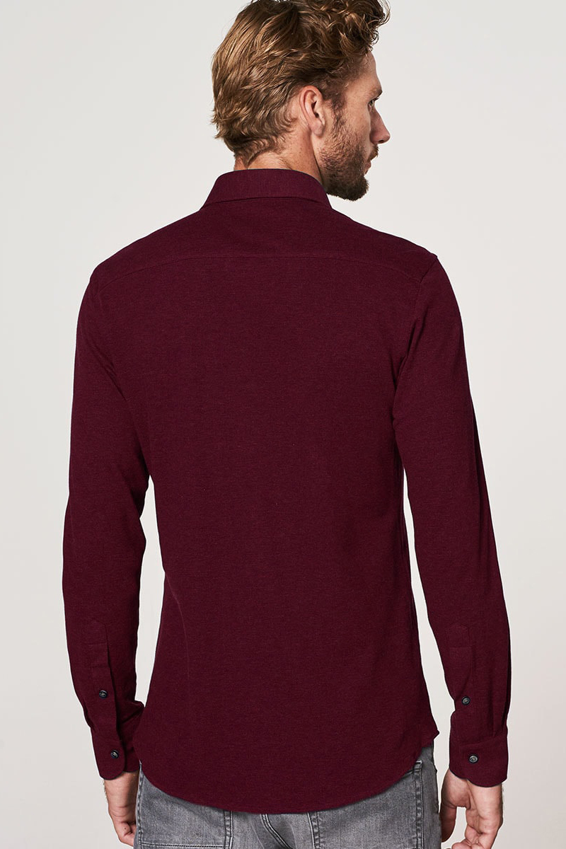 Bordeaux Overhemd.Profuomo Knitted Overhemd Bordeaux Effen Slim Fit